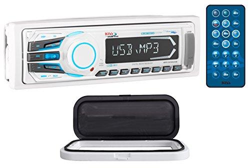 Boss MR1308BUA 1-Din Marine Bluetooth Receiver Aux, SD + Remote + Splash Guard ()