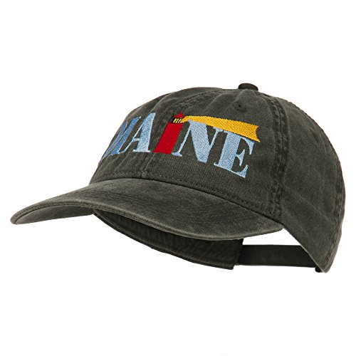 Maine Lighthouse Embroidered Washed Pigment Dyed Cap - Black OSFM