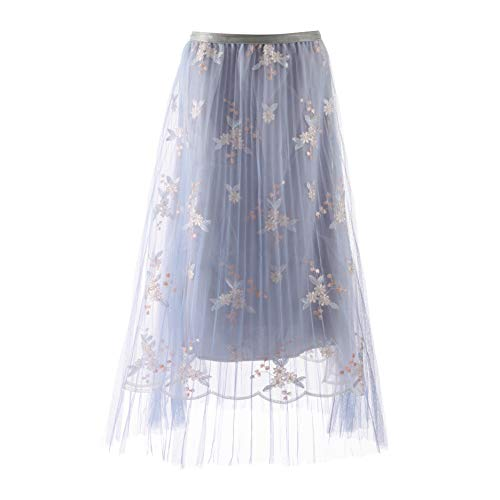 Women's Floral Embroidery A-Line Skirt Elastic High Waist Pleated Tulle Skirt Large Swing Flared Midi Long Length Tutu