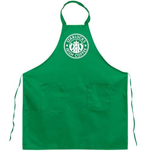 FUNNYSHIRTS.ORG Funny Knock Off Coffee Logo: Full Length Kelly Green Bib Apron