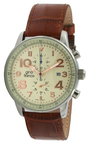 Gino Franco Round Multi-Function Stainless Steel Watch w Chronograph Feature Genuine Leather Strap