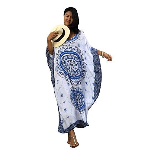 (Women's White Ethnic Print Kaftan Maxi Dress Summer Beach Dress)