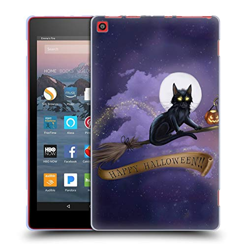 Official Ash Evans Happy Halloween Black Cats Soft Gel Case for Amazon Fire HD 8 (2017) -