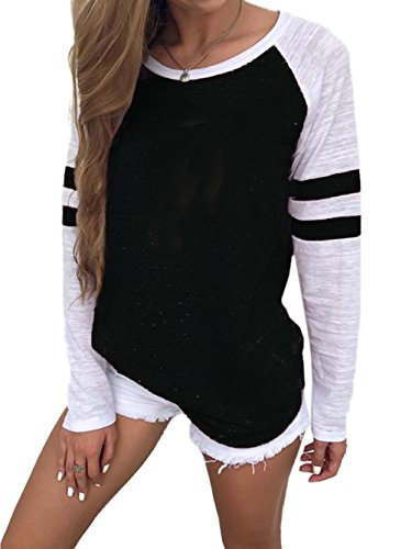 (Famulily Women's Long Sleeve Baseball Tee Shirt Crew Neck Colorblock Striped Tops(Black,X-Large))