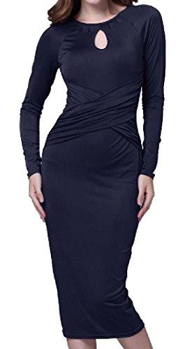 Scuro Del Womens Del Out Comodi Solido Medio Croce Vestito Cut Da Blu Pacchetto Dell'anca lungo Sera RZfA4