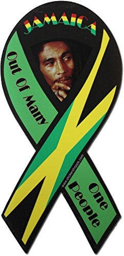 Flagline Jamaica - Country Ribbon Magnet (Out of Many, One People)