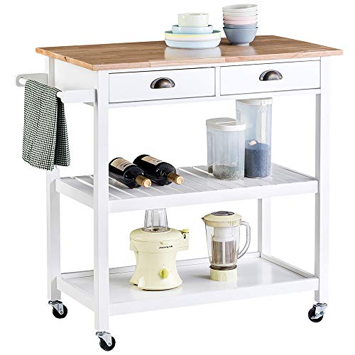 ChooChoo Rolling Kitchen Cart, Portable Kitchen Island Wood Top Kitchen Trolley with Drawers and Two-Tier Open Shelf, Towel Rack, White