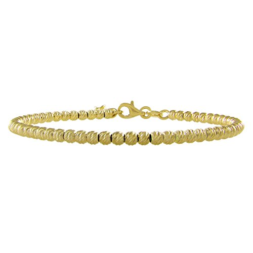 Italian Sterling Silver Diamond-cut 3mm Beads Bracelet (Yellow)