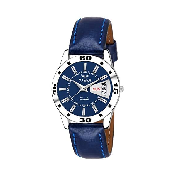 Vills Laurrens Day and Date Analogue Blue Dial Couple Watch for Men and Women - Pack of 2