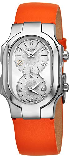 (Philip Stein Signature Swiss Made Womens Dual Time Zone Watch - Natural Frequency Technology Analog Mother of Pearl Face Ladies Watch with Diamonds - Orange Leather Band Quartz Watch for Women)