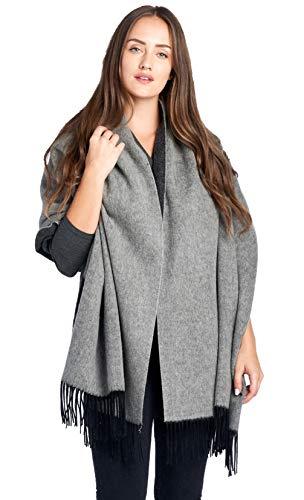 Mariyaab 100% Lambswool wool Women Solid Oversized Large Double Sided Pashmina Scarf Stole Shawl (915478,DkGrey/Grey)