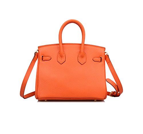 Shoulder 25cm Leather Padlock Ainifeel Bag Handbag Women's Hobo Orange Genuine xO1nxqXC