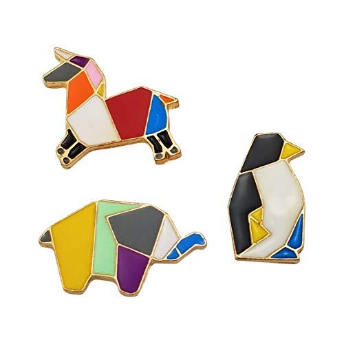 HAISWET Art Deco Horse Elephant Penguin Animal Enamel Lapel Pin 3 Pcs Gold Tone