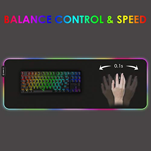 Large RGB Gaming Mouse Pad RAGZAN Led Extended XXL Soft Mousepad with 14 Lighting Mode, Anti-Slip Rubber Base Computer Key Board Mouse Mat for PC Gamer/Laptop Gamer/Officer( 31.5×11.8 inches)