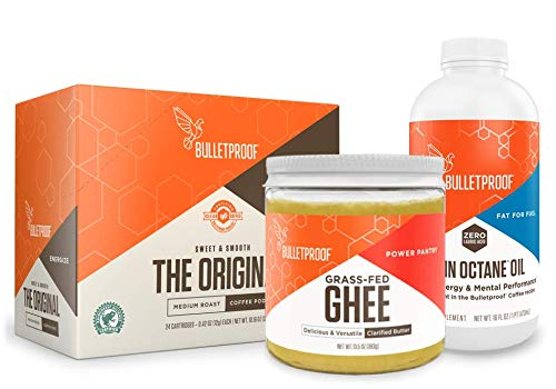 Bulletproof Starter Kit, 24ct Original Roast Clean Coffee K-Cup Pods, 16oz Ketogenic MCT Brain Octane Oil Made From 100% Coconut, 13.5oz Grass-Fed Ghee, Perfect For Keto Diet
