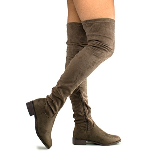Premier Standard Women's Fashion Comfy Vegan Suede Block Heel Side Zipper Thigh High Over The Knee Boots, TPS Olympia-20 v3 Taupe Size 6