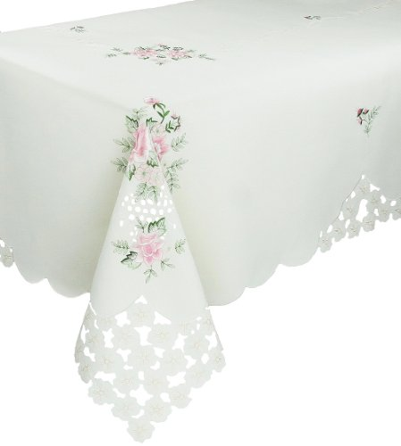 Xia Home Fashions Bloom Embroidered Cutwork Floral Tablecloth, 70 by 90-Inch by Xia Home Fashions