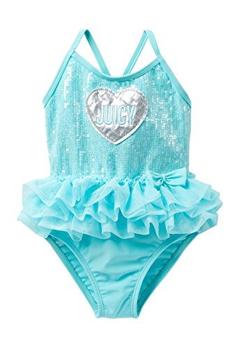 Juicy Couture Girls Mint Sequin Tutu 1Pc Swimsuit, 4T (Couture Tutu Tutus)