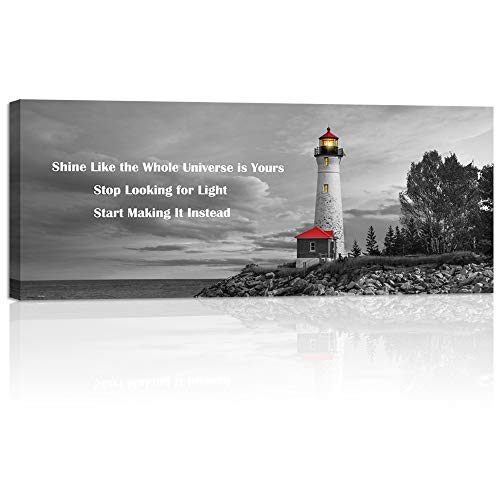 Welmeco Large Black White Wall Art The Red Lighthouse at Sunset on Lake, Michigan, USA Picture Canvas Prints Modern Inspirational Artwork for Living Room Office Decor Ready to Hang (01 Lighthouse)