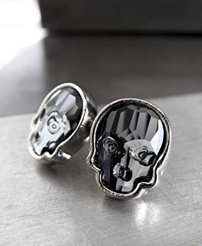 Swarovski Crystal Skull Stud Earrings in Midnight Black, Skull Post Earrings Halloween Jewelry