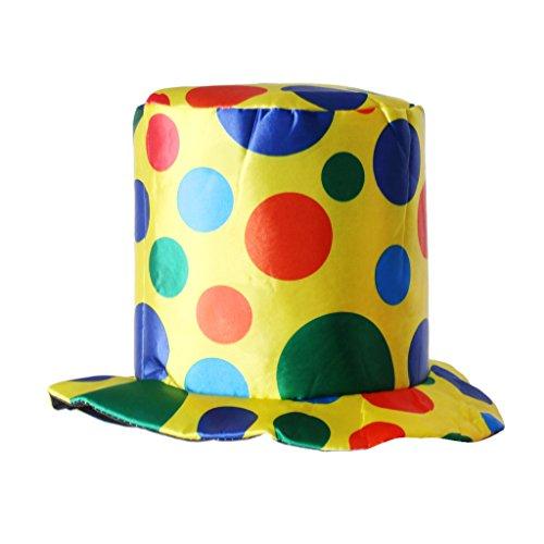 Polka Dot Circus Costume (Jili Online Polka Dot Top Hat Clown Circus Halloween Fancy Dress Accessory Hat Brim with Cloth)