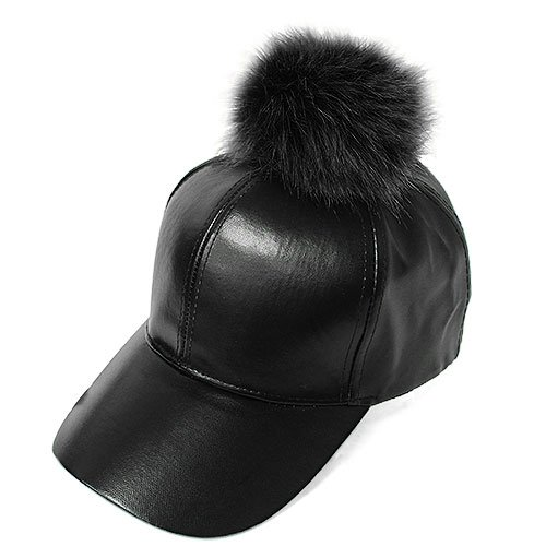 Baseball Snap (Women's Faux Leather Fur Pom Pom Adjustable Baseball Cap PM3041 (Black + Black))