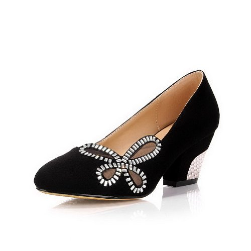 VogueZone009 Womans Closed Round Toe High Heel Frosted Solid Pumps with Rhinestones, Black, 5.5 UK