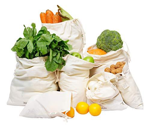 (Reusable Produce Bags Organic Cotton - Cotton Vegetable Bags - Cloth Produce Bags - Muslin Cotton Bags - Cotton Produce Bag - Cotton Bulk Bags - Set of 7 (1 of XXL, L, M, S, XS & 2 of XL))