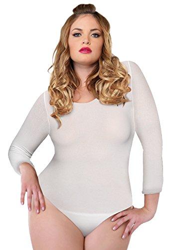 (Leg Avenue Women's Plus-Size Plus Size Long Sleeve Opaque Bodysuit, White)