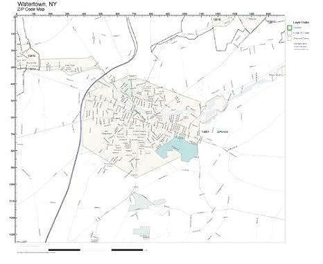 Amazon.com: ZIP Code Wall Map of Watertown, NY ZIP Code Map Not ...