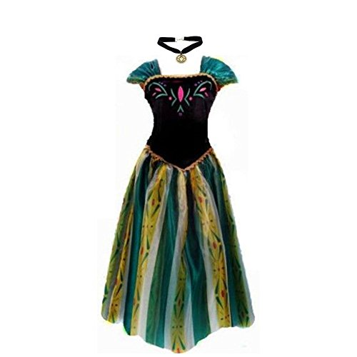 Big-On-Sale Princess Adult Women Anna Elsa Coronation Dress Costume Cosplay (M Size for US 6-8) -