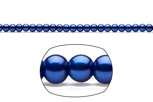 (4mm round metallic-tone royal blue glass pearls 2x32inch stings)