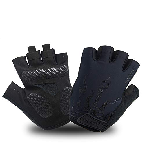 MOREOK Shock-Absorbing Breathable Anti Slip Cycling Gloves Half Finger Bike Bicycle Gloves Gel Padded Mountain Bike Road Bike Riding Gloves for Men and Women (Black&Black, XL)