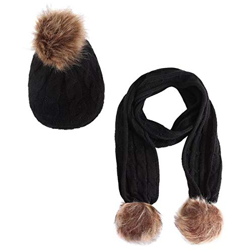 Jastore 2pcs Baby Girls Boys Winter Hat Scarf Set Infant Toddler Knit Warm Hat and Long Scarf (Color A-Black, Fit 1-3 Years)