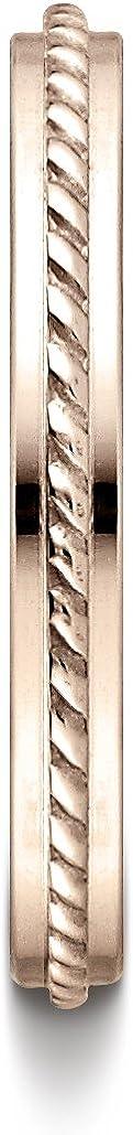 Sizes 4-15 Benchmark 14k Rose Gold 2mm High Polished Rope Center Design Band,