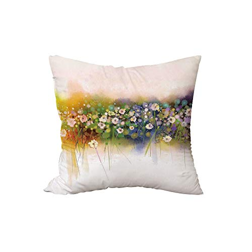 iPrint Throw Pillow Cushion,Watercolor Flower Home Decor,Vogue Display Wisteria Violets Wreath Fragrant Plants Herbs Artsy,Multi,15.7x15.7Inches,for Sofa Bedroom Car Decorate