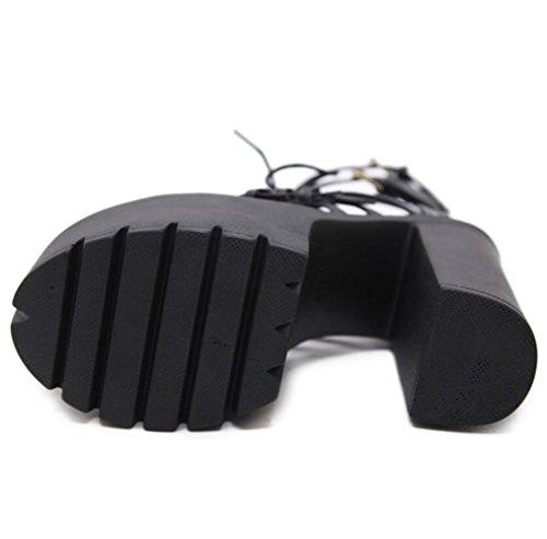 Talon Ceinture De d'orteil Haut Boucle De De De Performance Boucle Femmes LINYI Sandales Black Ouverte épais avec D'étape Plate Forme Imperméable La des 5OxUqw6