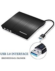 Starke Kompatibilität USB 3.0 Hochleistung Externes CD DVD Laufwerk Brenner für Laptops und Desktops Notebook unterstützt Windows XP/2003/Vista/7/Win8, Mac OS