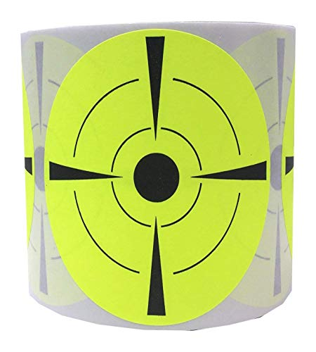 Self Adhesive Bullseye - Well Tile Target Stickers Roll (250 Tagets) - Self Adhesive 3 Inch Bullseye Target Stickers for Shooting - Gun Airsoft and Riffle Targets - Easy to See Bright Fluorescent Shooting Targets
