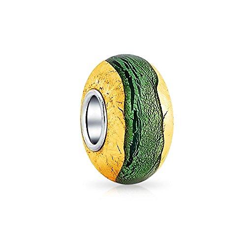 Bling Jewerly Breloque vert et en argent et plaque or verre de Murano