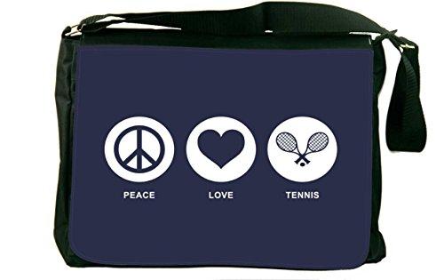 Rikki Knight Peace Love Tennis Blue Color Messenger Bag School Bag by Rikki Knight (Image #1)