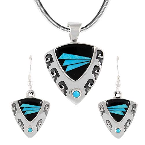 925 Sterling Silver Matching Pendant & Earrings Set Genuine Turquoise & Black Shell 20