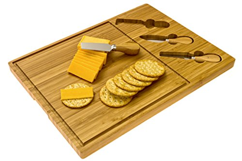 Cheese Board Cheese Cutting Board with 3 Cheese Stainless Steel Knives/Tools Made of Organic Bamboo Wood by Intriom Bamboo Collection