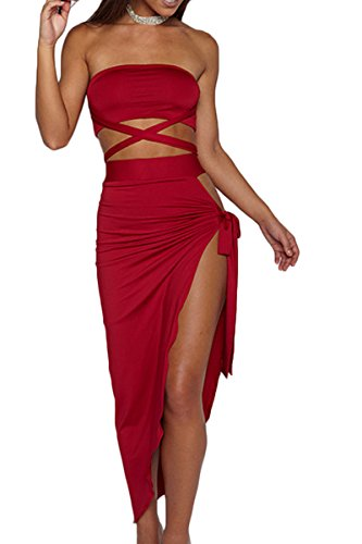 Sunfury Sexy Criss Cross Tight Bodycon Cocktail Party Skirt for Women Wine M (Skirts Tight Skin)