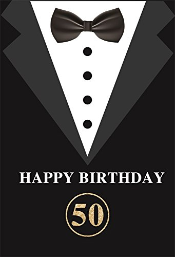 LFEEY 8x10ft Happy 50th Birthday Party Backdrop for Adults Father's Men's Suits with Bow-tie Photography Backgrounds Fift y Years Old Party Cake Smash Background Photo Booth -