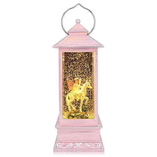QTKJ USB and Battery Operated Angel and Unicorn Night Lamp Spinning Water Lantern Snow Globe Lantern for Desk, Room Decoration Gifts (Pink)