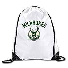 Milwaukee Bucks Basketball Team Logo White Drawstring Backpack Sport Bag For Men & Women