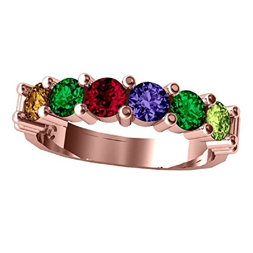 NANA Shared Prong Mothers Ring 1 to 6 Stone 10k Rose Gold - Size 7