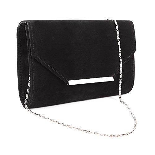 Anladia Envelope Flap-Top Silver-Tone Metal Bar Velvet Clutch Women Chain Strap Handbag