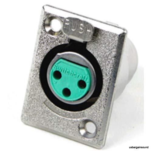 Switchcraft D3F 3-Pin Female XLR Panel Mount Plug, Nickel Finish ()